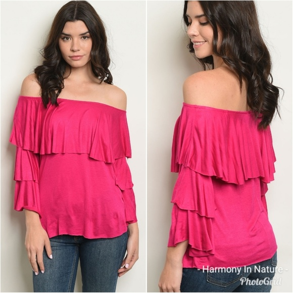 7f1b98f8b1883 Harmony In Nature Tops | Hot Pink Off Shoulder Blouse | Poshmark